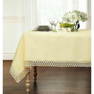 Holiman Macrame Trimmed Fabric Tablecloth