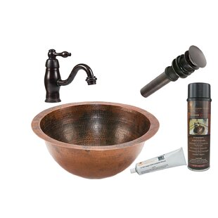 Premier Copper Products Metal Circular Undermount Bathroom Sink with Faucet