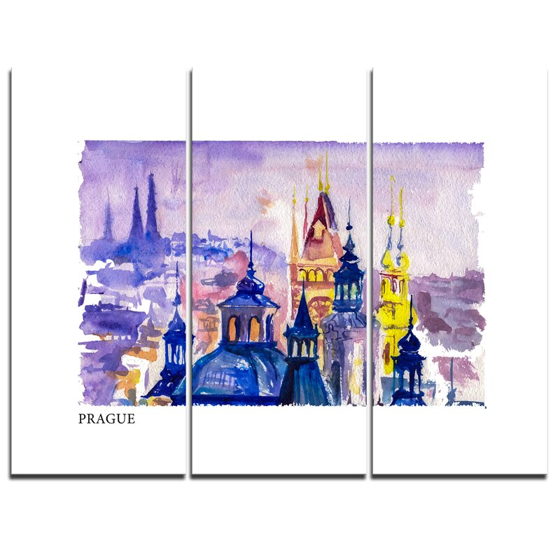Designart Prague Vector Illustration 3 Piece Painting Print On Wrapped Canvas Set Wayfair