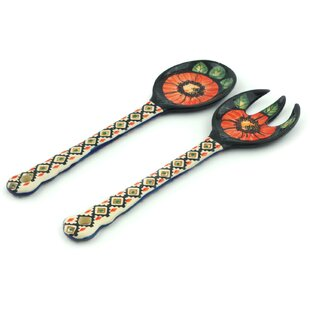 2-Piece Poppy Passion Salad Spoon and Fork Utensil Set
