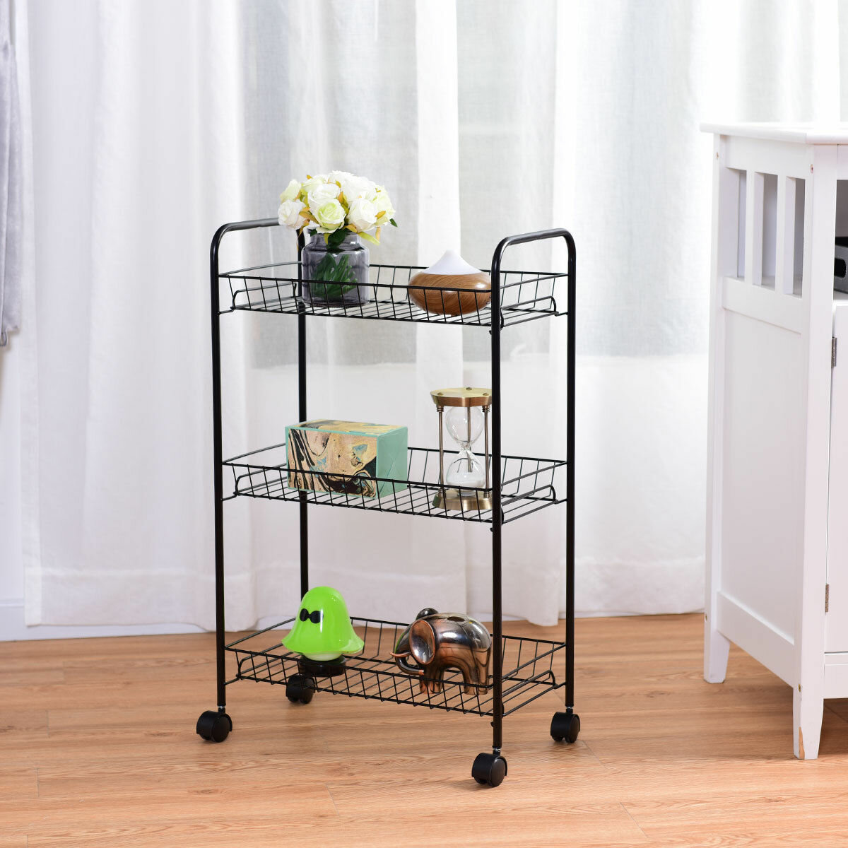 Costway 3 tier rolling kitchen trolley utility cart wire storage shelf baskets wayfair