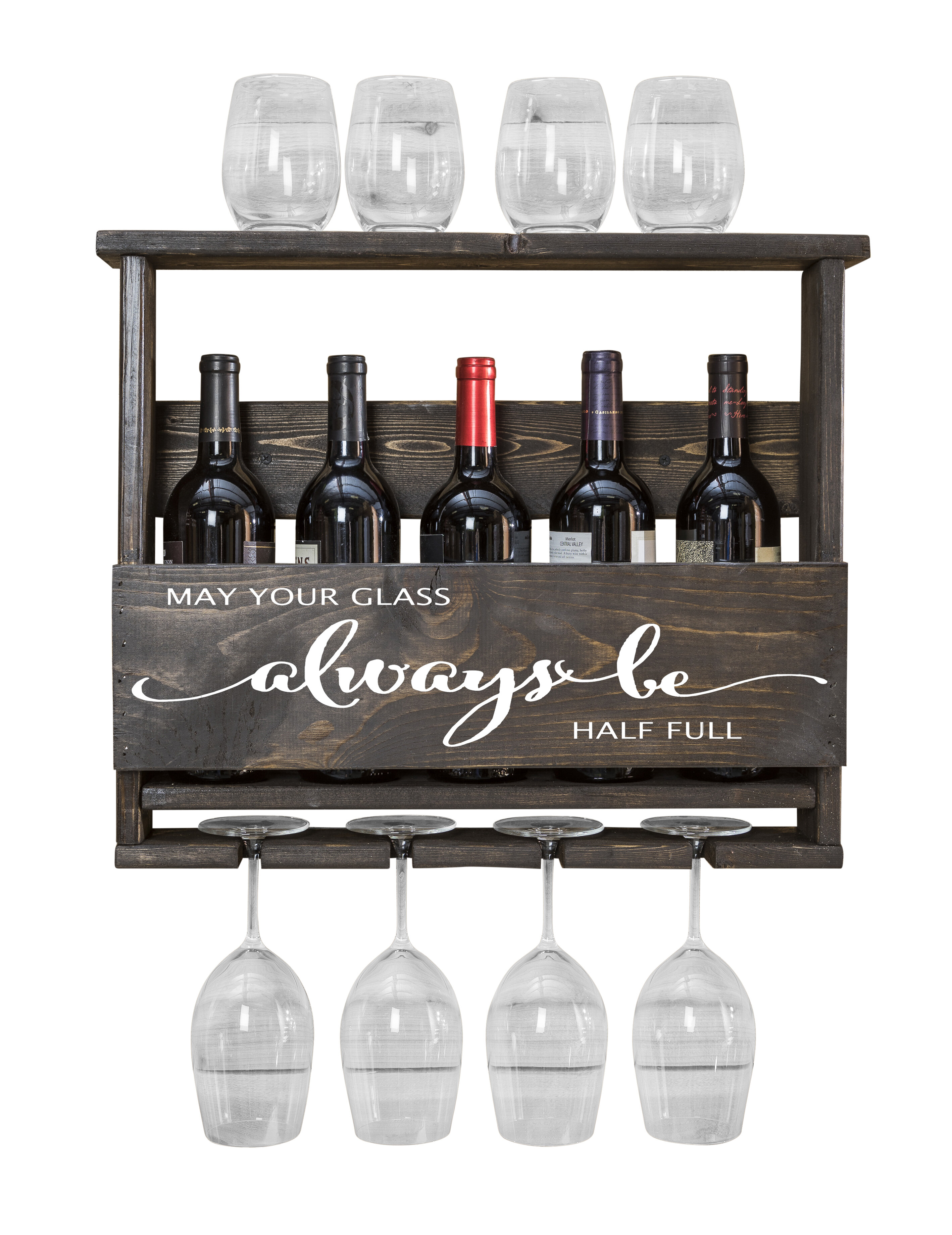 Winston Porter Bernon Always Be 5 Bottle Wall Mounted Wine Bottle And Glass Rack Reviews Wayfair