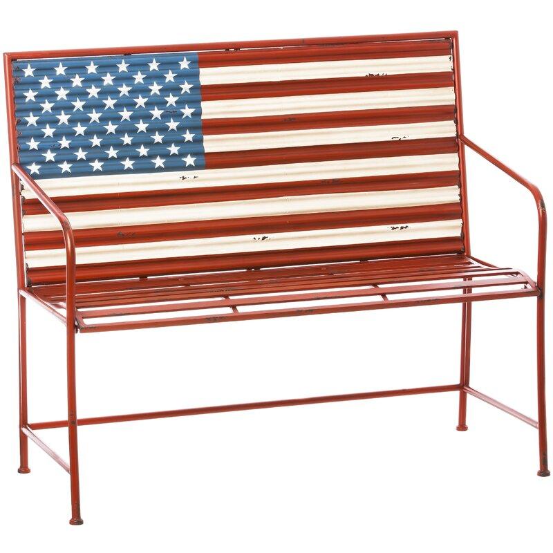 Bennie American Flag Metal Garden Bench