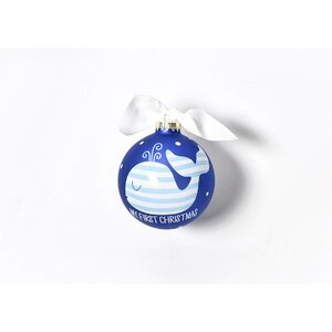 My First Christmas Whale Glass Ornament