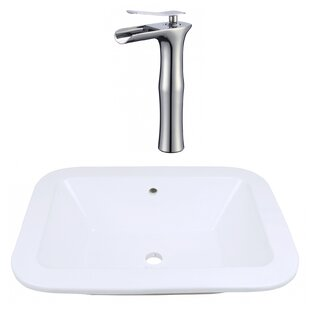 Savings Ceramic Rectangular Dual Mount Bathroom Sink with Faucet and Overflow ByRoyal Purple Bath Kitchen