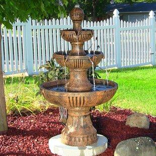 Littlehampt Fibergl Resin Flower Blossom 3 Tiered Electric Water Fountain