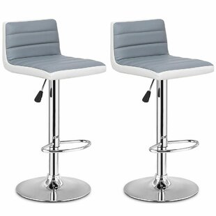 Olcay Swivel Adjustable Height Bar Stool Set of 2 by Orren Ellis