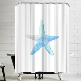 Jetty Printables Blue Watercolor Starfish Single Shower Curtain