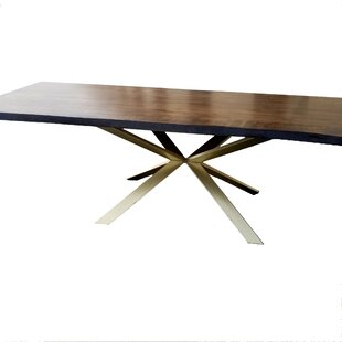 Kronos Solid Wood Live Edge Dining Table Everly Quinn