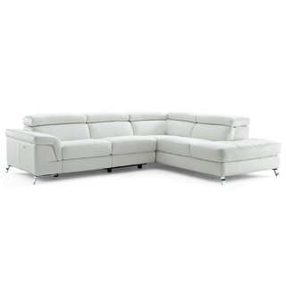 Westall Leather Right Hand Facing Reclining Sectional by Wade Logan SKU:BA637601 Price Compare