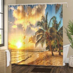Tropical Exotic Sandy Beach Shower Curtain ByEast Urban Home