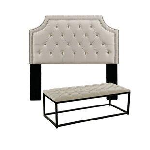 Devitt Upholstered Panel Headboard and Tufted Bench