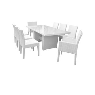 Miami 9 Piece Outdoor Patio Dining Set With Cushions by TK Classics Spacial Price