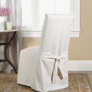Marvelous Cotton Duck Full Length Dining Room Chair Slipcover Part 21