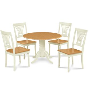 Ademar 5 Piece Drop Leaf Solid Wood Dining Set August Grove