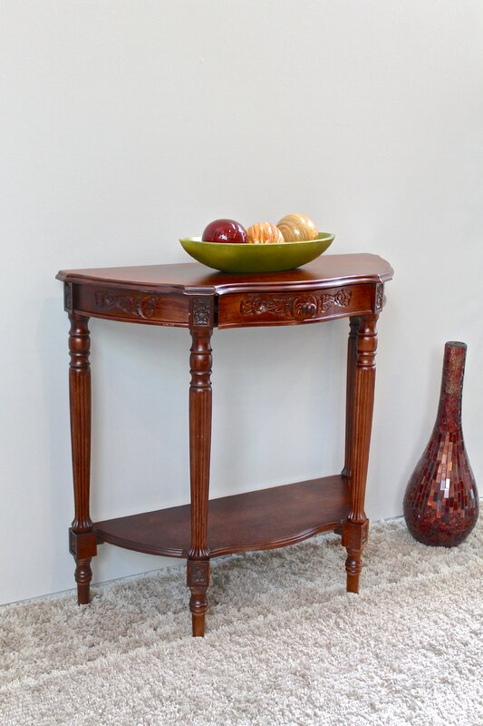 astoria grand barron hand carved half moon console table reviews. Black Bedroom Furniture Sets. Home Design Ideas