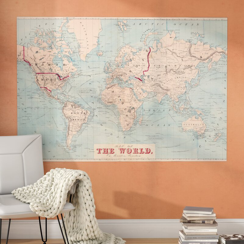 Mercury Row Gilbertson Map of The World Wall Mural Reviews Wayfair