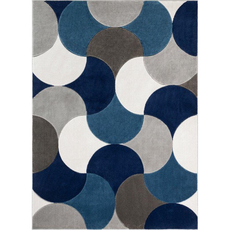 Well Woven Good Vibes Helena Modern Geometric Blue Gray Black Area