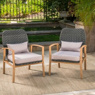 Zaanstad Outdoor Club Patio Chair with Cushions (Set of 2)