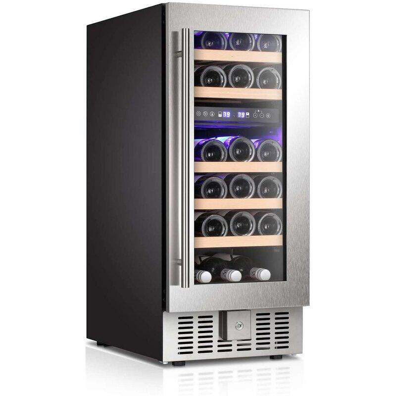Yukool 28 Bottles And 18 Can Dual Zone Freestanding Wine Refrigerator Wayfair