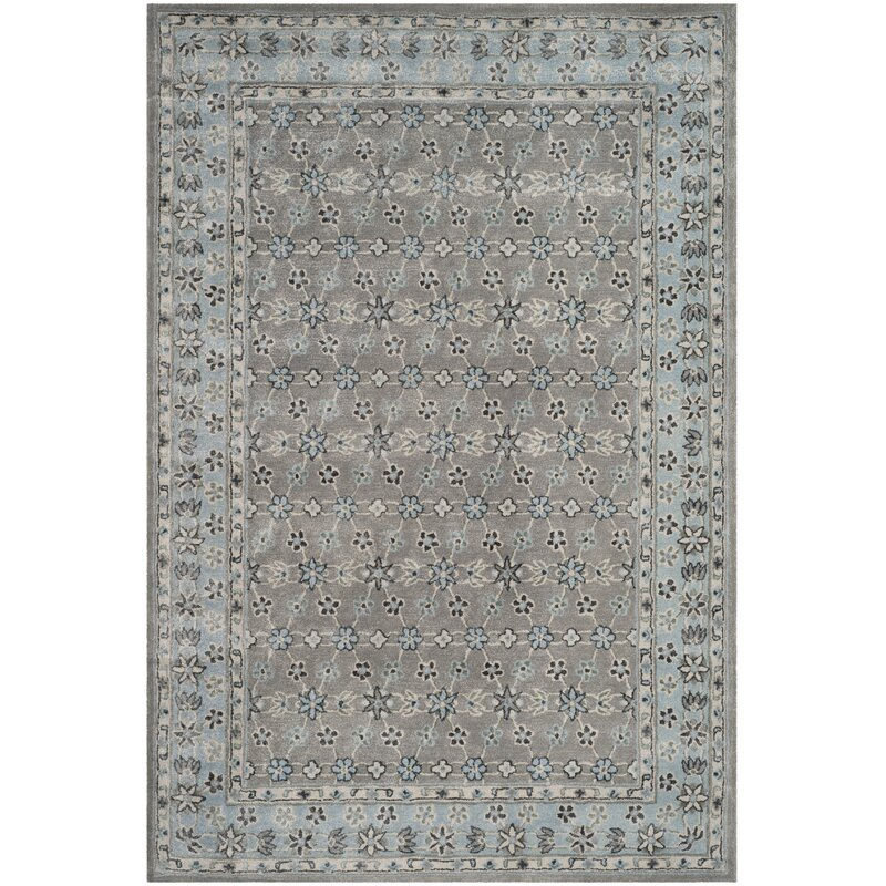 Charlton Home Blassingame Hand Tufted Wool Gray Blue Area Rug Reviews Wayfair