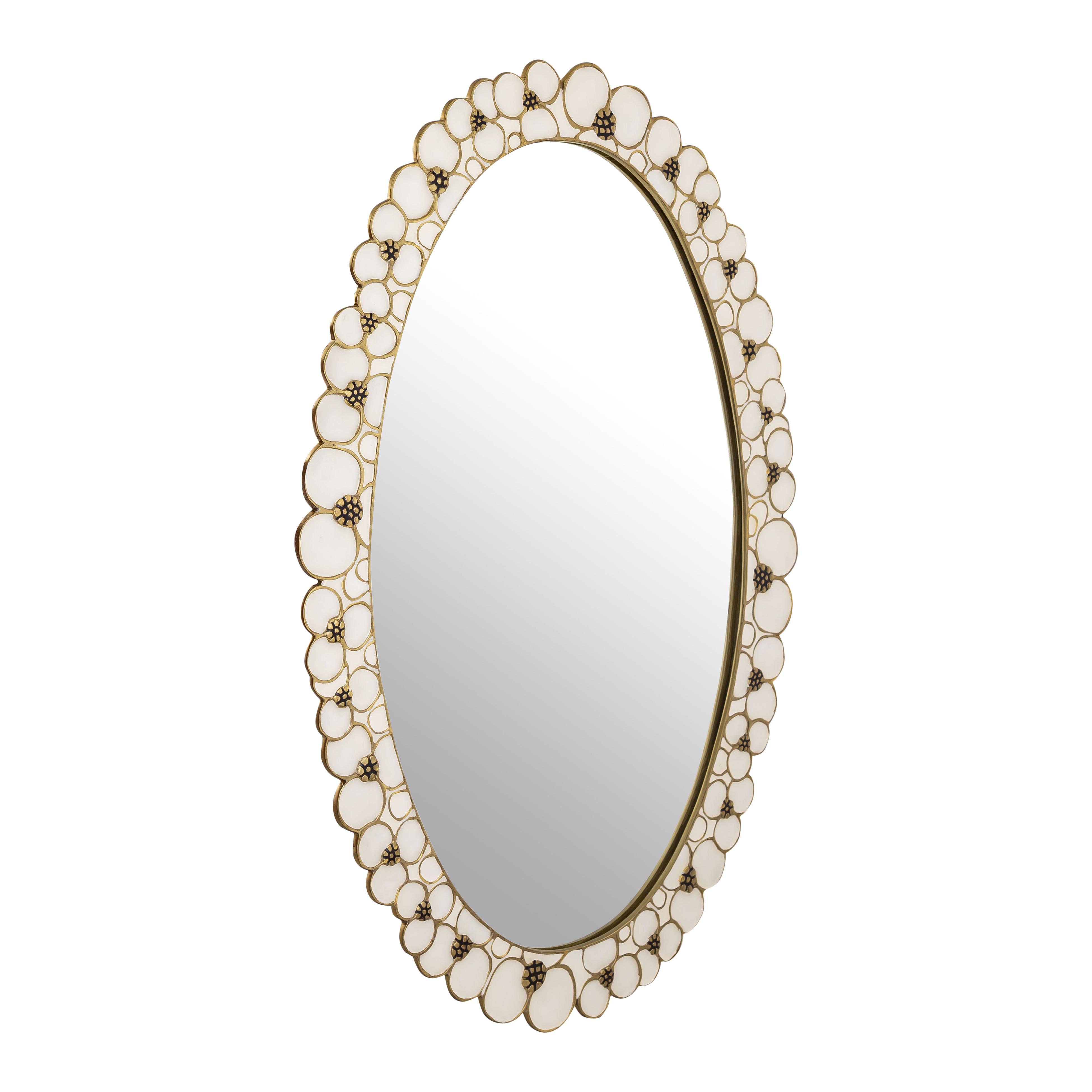 House Of Hampton Huck Flor Handpainted Accent Mirror Wayfair