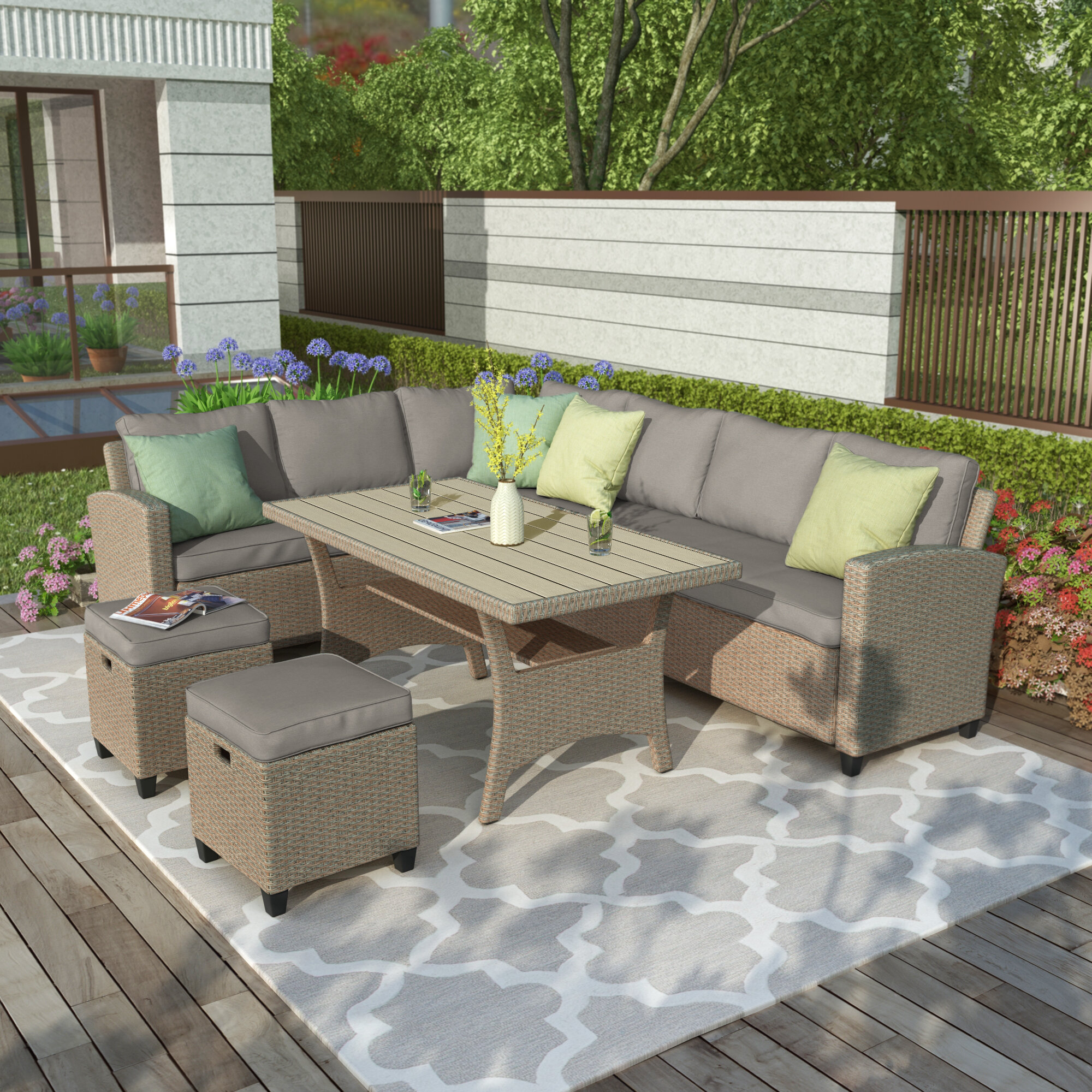 Red Barrel Studio® Patio Furniture Set, 5 Piece Outdoor
