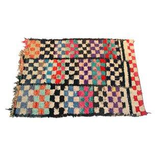 Read Reviews Vintage Boucherouite Azilal Hand-Woven Black/Blue Area Rug ByCasablanca Market