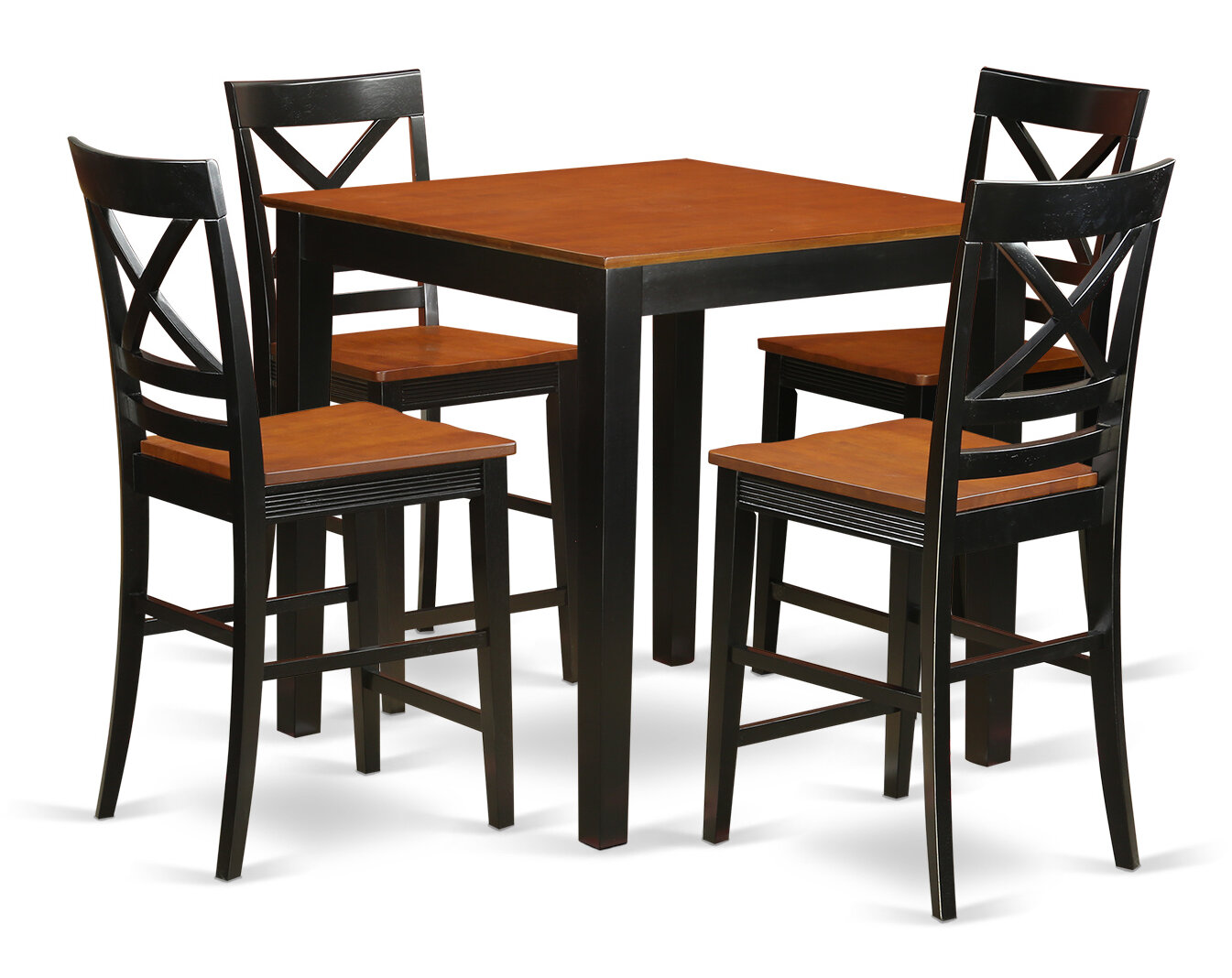 East West 5 Piece Counter Height Rubberwood Solid Wood Dining Set Reviews Wayfair