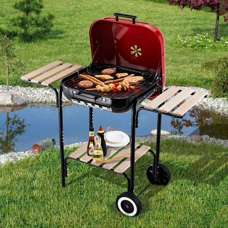 Outsunny Portable Outdoor BBQ Kettle Charcoal Grill ...