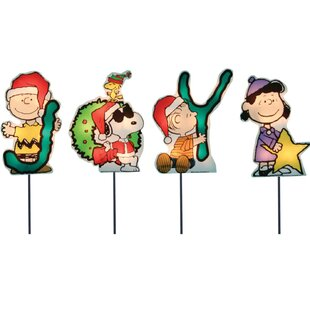 joy peanuts and snoopy christmas pathway lighted display set of 4