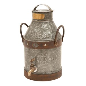 Country Style Silver / Grey Metal Milk Can
