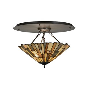 Meyda Tiffany Greenbriar Oak Delta Jadestone 3-Light Semi-Flush Mount