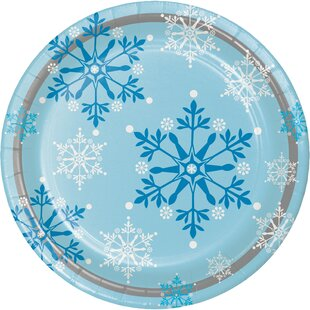 Snowflake Swirls Paper Plate (Set of 24)