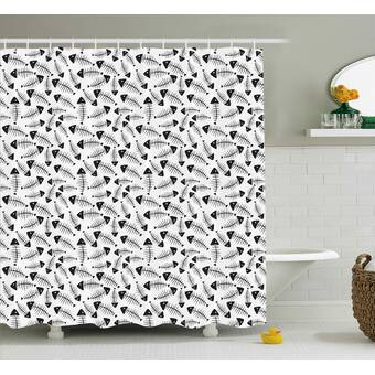 Ebern Designs Kimberly Modern Leather Like Natural Contemporary Image With Stars Geometric Shapes Artwork Image Single Shower Curtain Wayfair