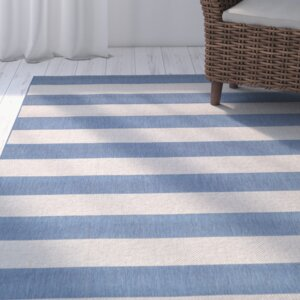 Gallinas Blue Striped Indoor/Outdoor Area Rug