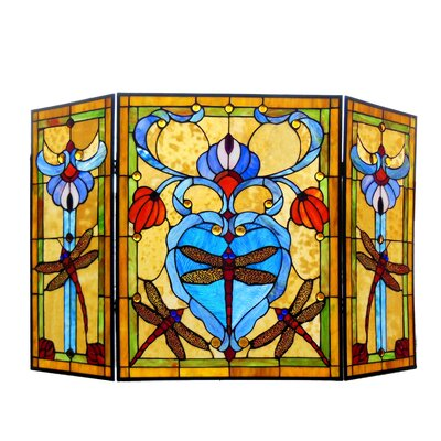Dragonfly 3 Panel Metal Fireplace Screen Chloe Lighting