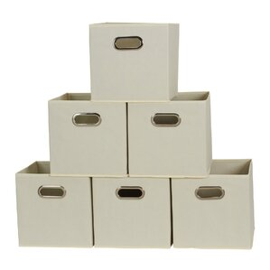 open fabric cubby storage bin set of 6