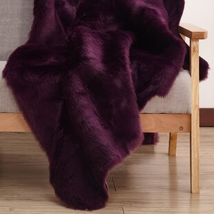 Compare Ravius Faux Fur Purple Area Rug By Everly Quinn