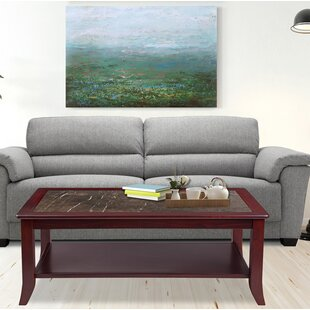 Claude Natural Marble Top Wood Coffee Table Red Barrel Studio