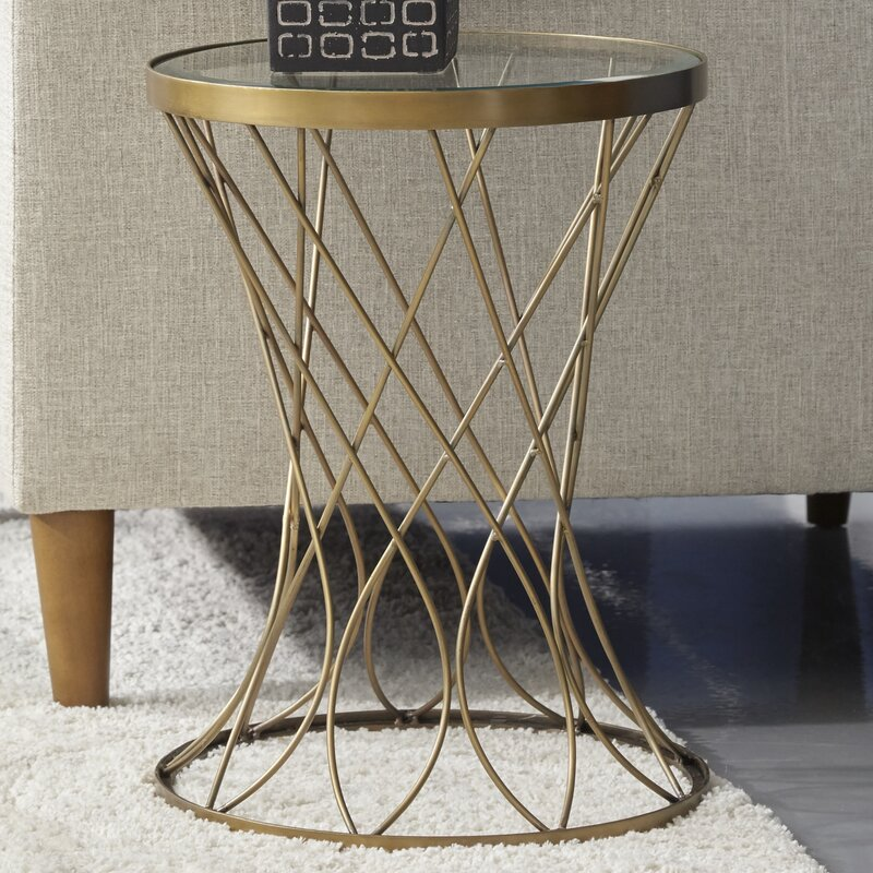 mercer41 osbourne concave round metal end table with glass top