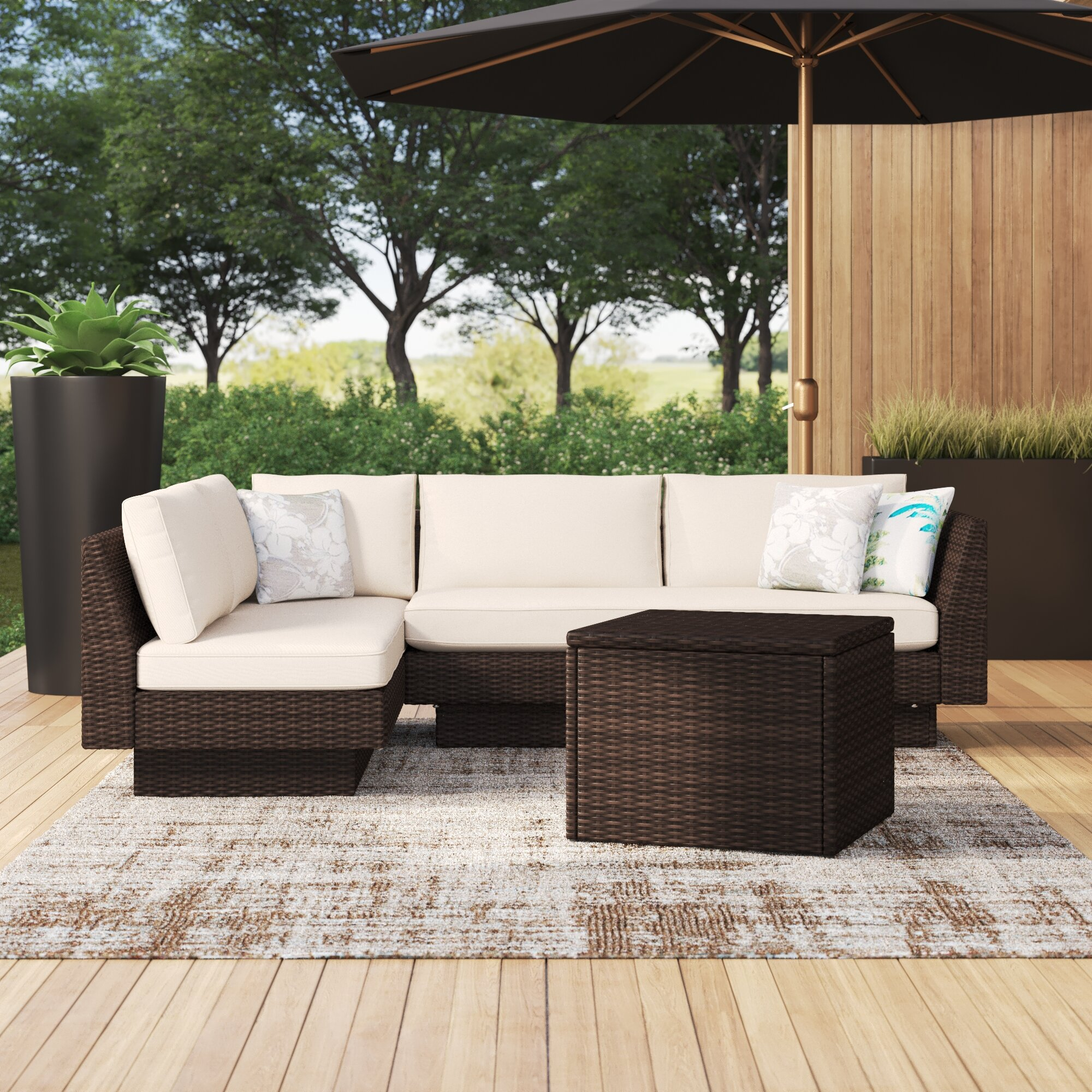 Brayden Studio Addora Outdoor 2 Piece Rattan Seating Group With Cushions Reviews Wayfair