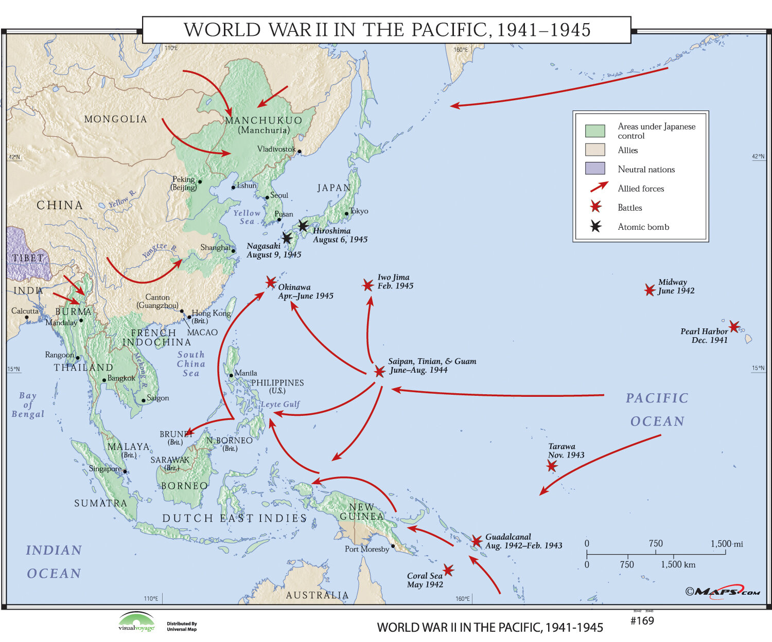 World History Wall Maps - World War II in the Pacific