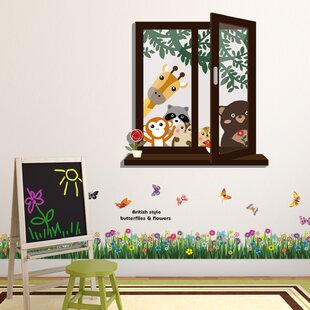Howle Window View Of Animal Friends And Butterfly Grass Wall Decal