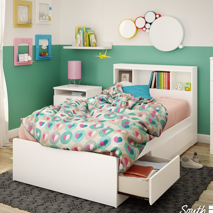 South Shore Reevo Mates And Captains Bed With Bookcase Headboard