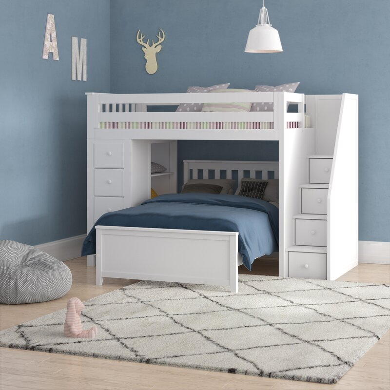 Ayres L Shaped Loft Bed With Drawers And Bookcase