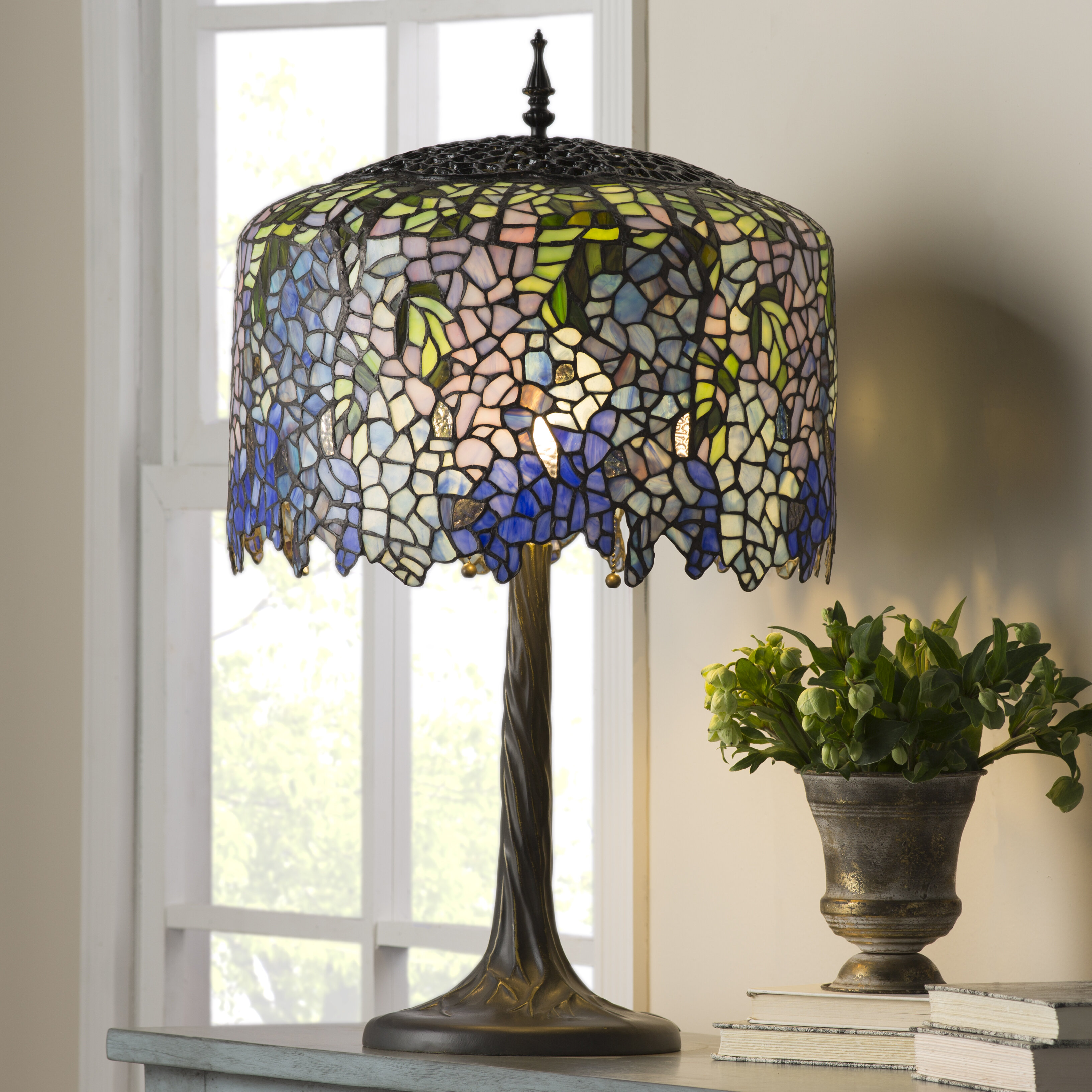 Fleur De Lis Living Crannell Tiffany Inspired Grand Wisteria Stained Glass 29 50 Table Lamp Reviews Wayfair