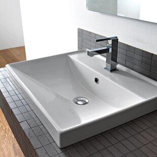 Scarabeo by Nameeks ML Ceramic Rectangular Drop-In Bathroom Sink with Overflow