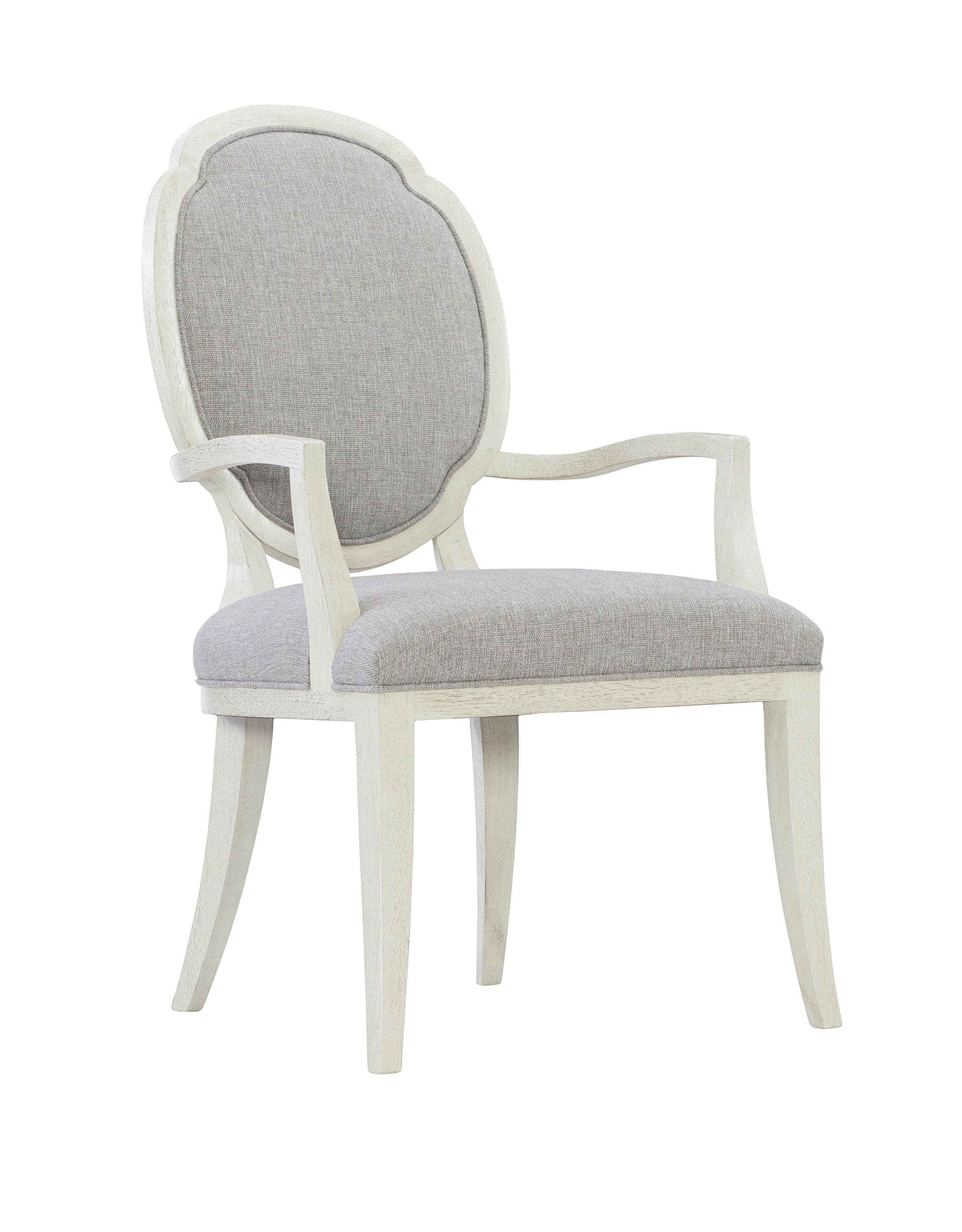 Bernhardt Allure Olefin Upholstered King Louis Back Arm Chair In Gray Wayfair