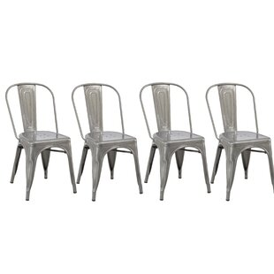 Famis Corp Industrial Metal Bistro Stackable Cafe Side Chair (Set of 4)